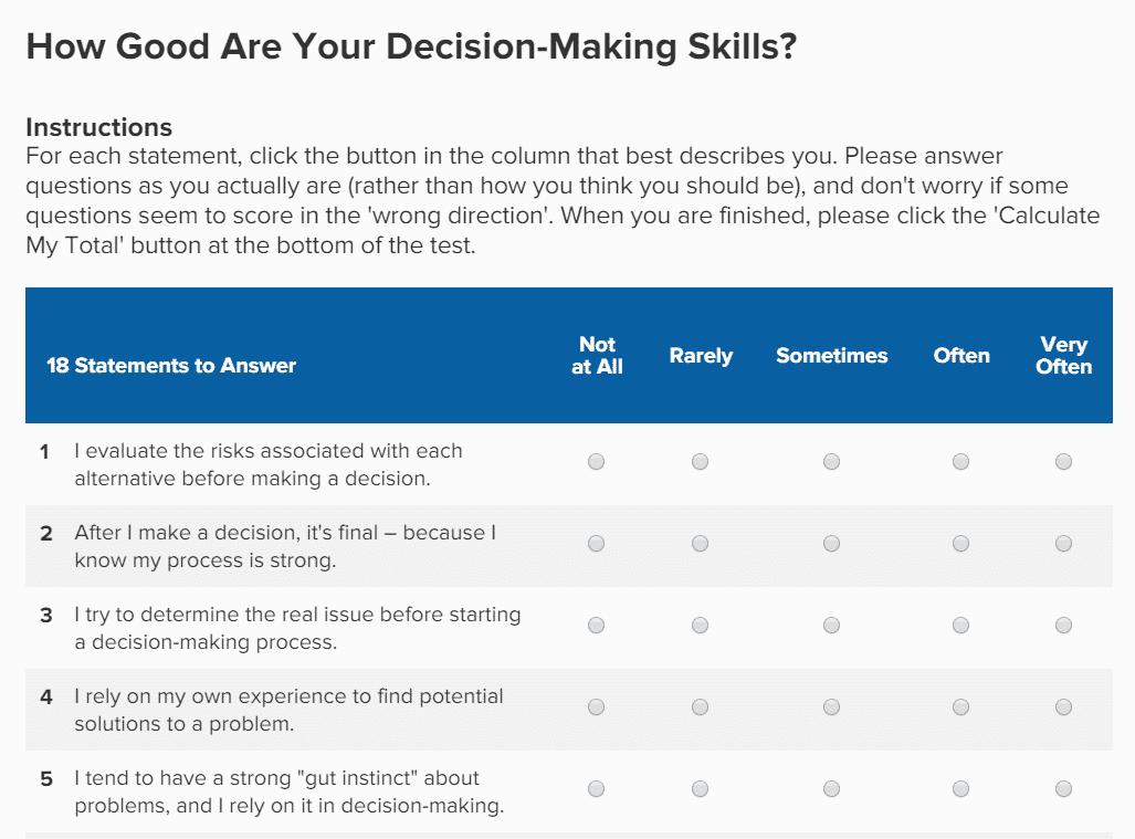 WorkMonger Professional Development - Career Advice Blog: Big Picture Decision Making Quiz